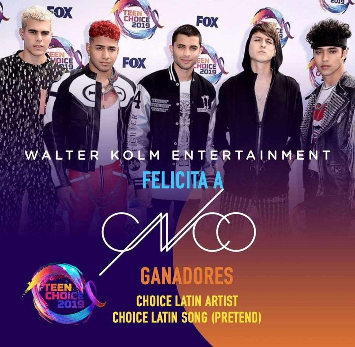 ¡¡CNCO gana dos Teen Choice Awards!!