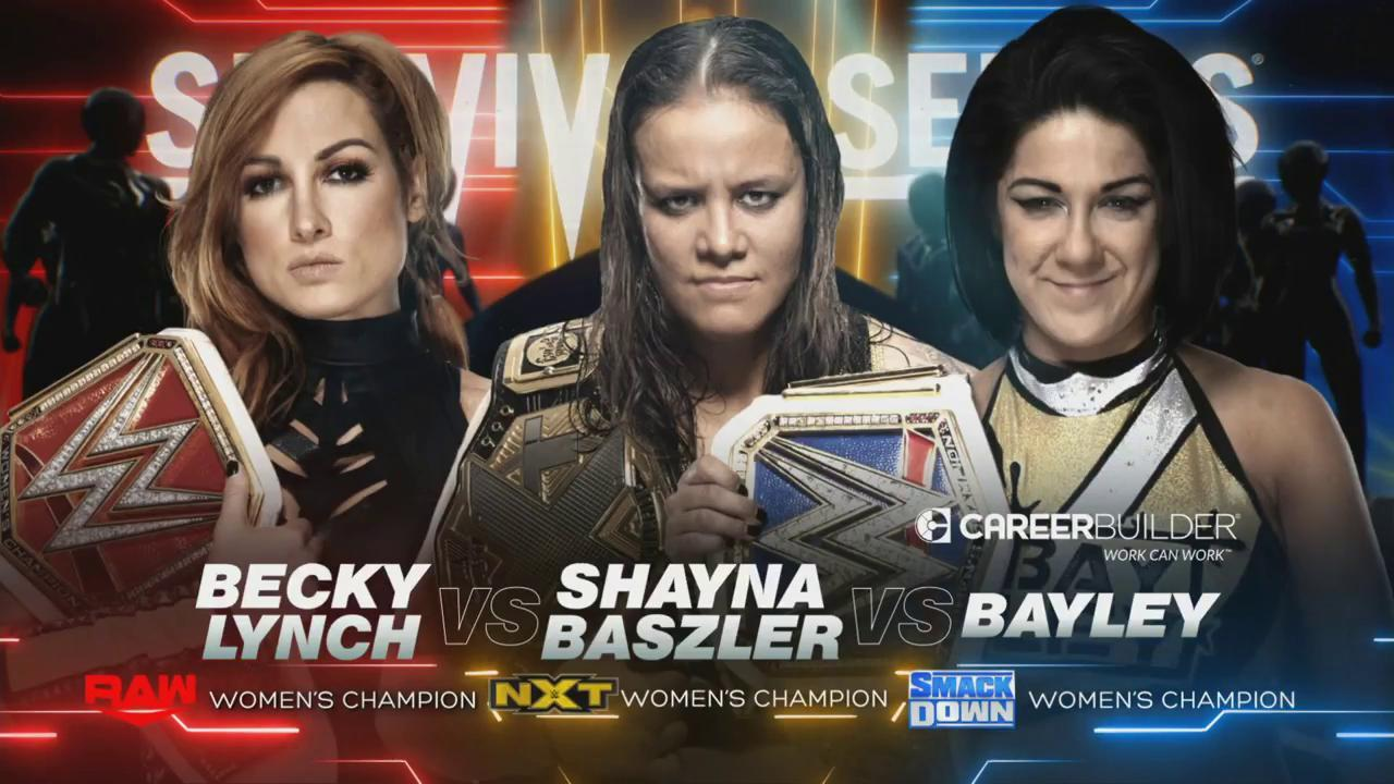 Becky Lynch vs Shayna Baszler vs Bayley en Survivor Series 2019 (Twitter @WWE)