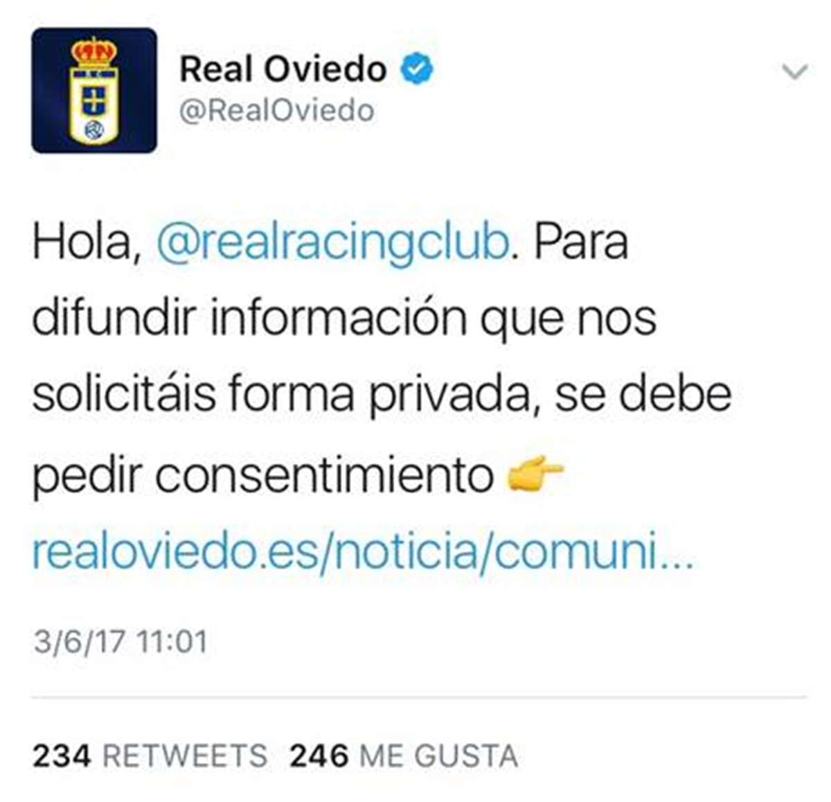tweet del Real Oviedo