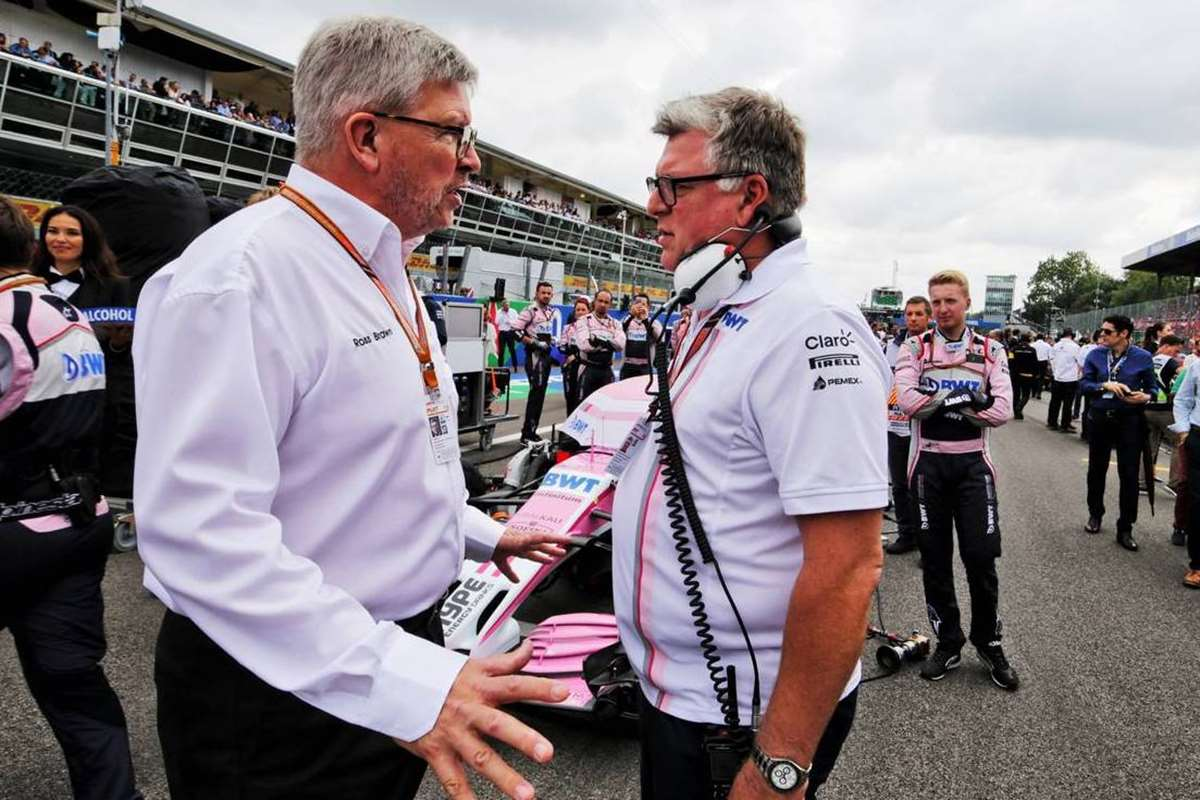 Ross Brawn, junto al responsable de Racing Poing, Otmar Szafnauer.